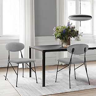 Alice Modern Velvet and Metal Dining Room Chairs - Set of 2, , rollover