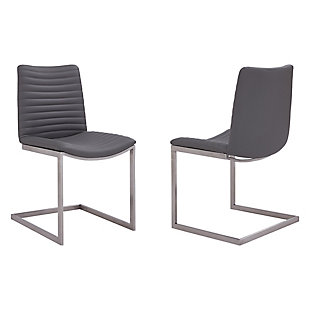 April Contemporary Dining Chair in Brushed Stainless Steel Finish and Gray Faux Leather - Set of 2, Gray, large