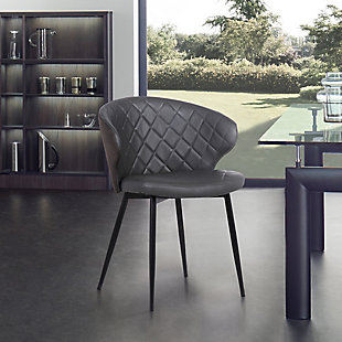 Ava Contemporary Dining Chair in Black Powder Coated Finish and Gray Faux Leather, Gray, rollover