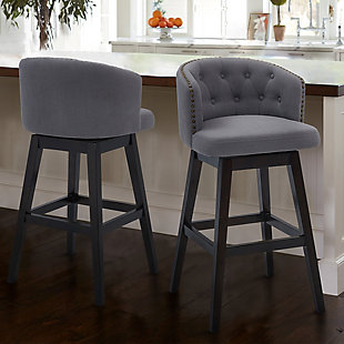 "Celine 30"" Bar Height Wood Swivel Tufted Barstool in Espresso Finish with Gray Fabric, Gray, rollover"
