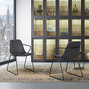 Colton Contemporary Dining Chair in Chrome Finish and Gray Faux Leather - Set of 2, Gray, rollover