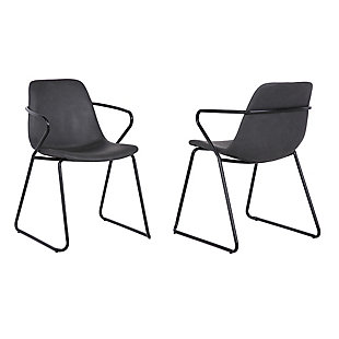 Colton Contemporary Dining Chair in Chrome Finish and Gray Faux Leather - Set of 2, Gray, large