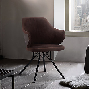 Darcie Mid-Century Dining Chair in Black Powder Coated Finish with Brown Velvet and Walnut Glazed Wood Finish Back, Brown, rollover