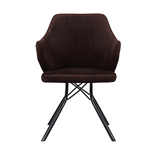 Darcie Mid-Century Dining Chair in Black Powder Coated Finish with Brown Velvet and Walnut Glazed Wood Finish Back, Brown, large