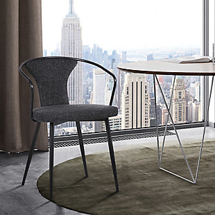 Francis Contemporary Dining Chair in Black Powder Coated Finish and Black Fabric, , rollover