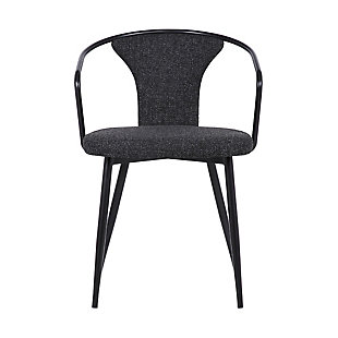 Francis Contemporary Dining Chair in Black Powder Coated Finish and Black Fabric, , large