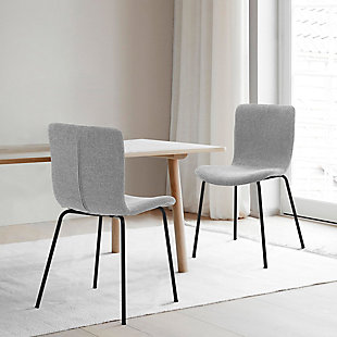 Gillian Modern Gray Faux Leather and Metal Dining Room Chairs - Set of 2, Gray, rollover