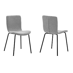 Gillian Modern Gray Faux Leather and Metal Dining Room Chairs - Set of 2, Gray, large