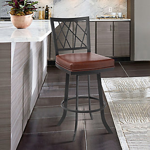 """Giselle Contemporary 30"""" Bar Height Barstool in Matte Black Finish and Vintage Coffee Faux Leather, Coffee, rollover"""
