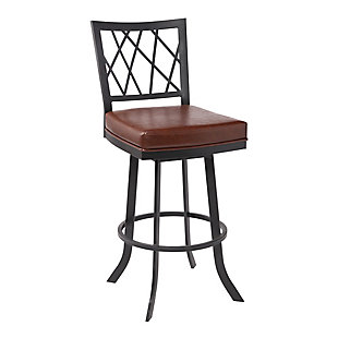 """Giselle Contemporary 30"""" Bar Height Barstool in Matte Black Finish and Vintage Coffee Faux Leather, Coffee, large"""