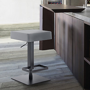 Kaylee Contemporary Swivel Barstool in Matte Black Finish and Gray Faux Leather, , rollover