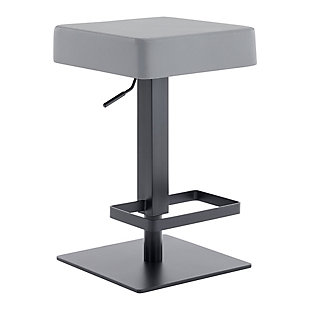 Kaylee Contemporary Swivel Barstool in Matte Black Finish and Gray Faux Leather, , large