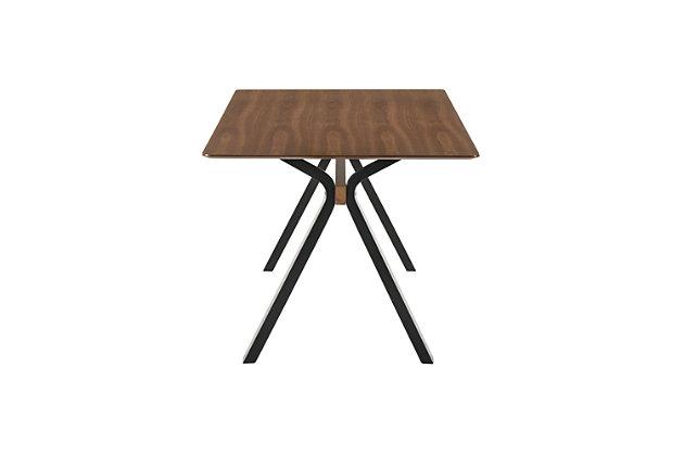"Laredo 63"" Mid-Century Modern Walnut Wood Dining Table with Black Legs, , large"