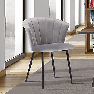 Lulu Contemporary Dining Chair in Black Powder Coated Finish and Gray Velvet, , rollover