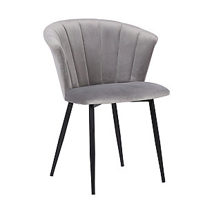 Lulu Contemporary Dining Chair in Black Powder Coated Finish and Gray Velvet, , large