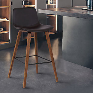 Maddie Contemporary Barstool in Walnut Wood Finish and Brown Faux Leather, , rollover