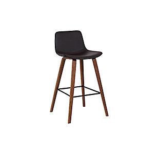 Maddie Contemporary Barstool in Walnut Wood Finish and Brown Faux Leather, , large