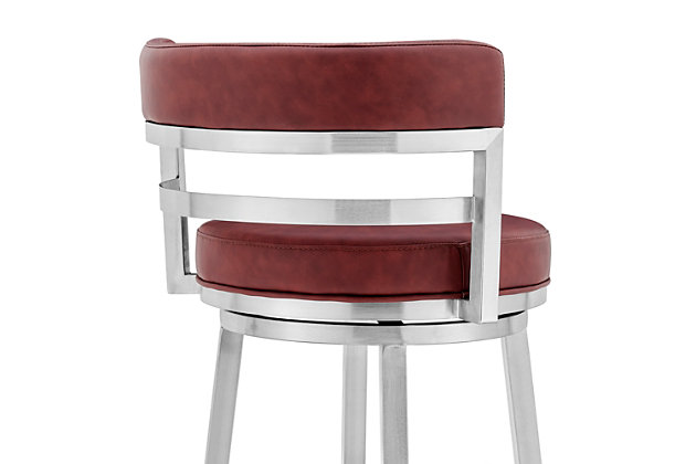 """Madrid Contemporary 26"""" Counter Height Barstool in Brushed Stainless Steel Finish and Red Faux Leather, Red, large"""