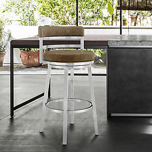 """Madrid Contemporary 30"""" Counter Height Barstool in Brushed Stainless Steel Finish and Green Faux Leather, Green, rollover"""