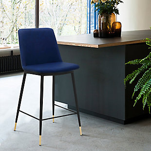 """Messi 26"""" Modern Faux Leather and Metal Counter Height Bar Stool, Blue, rollover"""