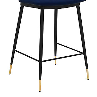 """Messi 26"""" Modern Faux Leather and Metal Counter Height Bar Stool, Blue, large"""