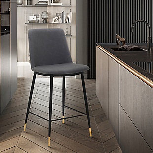 """Messi 26"""" Modern Faux Leather and Metal Counter Height Bar Stool, Gray, large"""