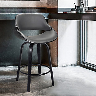 """Mona Contemporary 30""""Bar HeightSwivel Barstool in Black Brush Wood Finish and Gray Faux Leather, , rollover"""