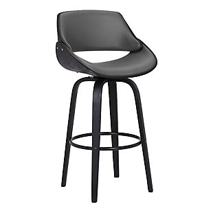 """Mona Contemporary 30""""Bar HeightSwivel Barstool in Black Brush Wood Finish and Gray Faux Leather, , large"""