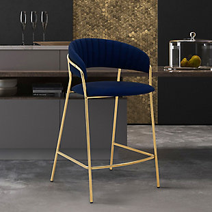 """Nara 26"""" Modern Faux Leather and Metal Counter Height Bar Stool, Blue/Gold, rollover"""
