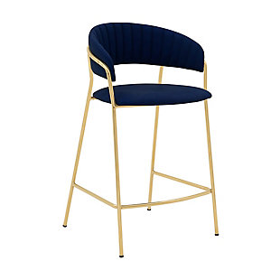 """Nara 26"""" Modern Faux Leather and Metal Counter Height Bar Stool, Blue/Gold, large"""