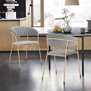 Nara Modern Faux Leather and Metal Dining Room Chairs - Set of 2, Gray, rollover