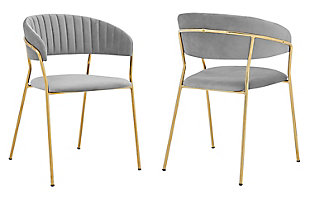 Nara Modern Faux Leather and Metal Dining Room Chairs - Set of 2, Gray, large