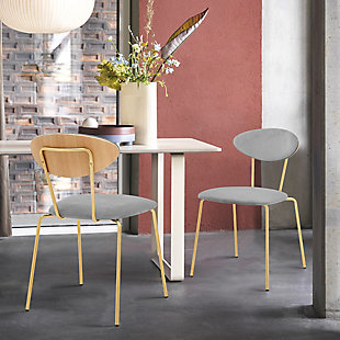 Neo Modern Gray Velvet and Gold Metal Leg Dining Room Chairs - Set of 2, Gray, rollover