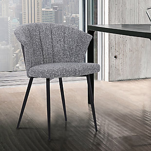 Orchid Mid-Century Dining Chair in Black Powder Coated Finish with Gray Fabric and Walnut Glazed Finish Back, Gray, rollover