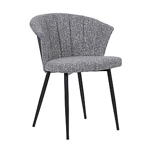 Orchid Mid-Century Dining Chair in Black Powder Coated Finish with Gray Fabric and Walnut Glazed Finish Back, Gray, large