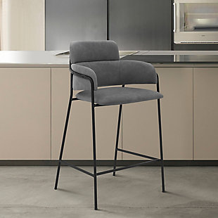 """Oshen 26"""" Modern Faux Leather and Metal Counter Height Bar Stool, Gray, rollover"""