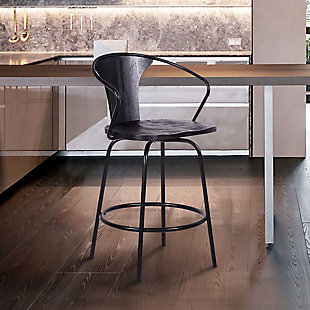"""Payton Industrial 30"""" Swivel Black Wood and Metal Bar Stool, , rollover"""