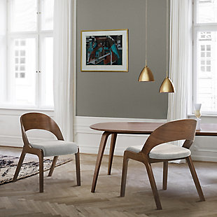 Polly Mid-Century Gray Upholstered Dining Chairs in Walnut Finish - Set of 2, , rollover