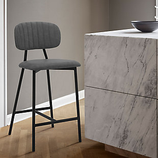 """Rococo 26"""" Modern Faux Leather and Metal Counter Height Bar Stool, , rollover"""