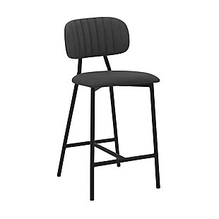 """Rococo 26"""" Modern Faux Leather and Metal Counter Height Bar Stool, , large"""