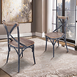 Sloan Industrial Dining Chair in Industrial Gray and Pine Wood - Set of 2, , rollover