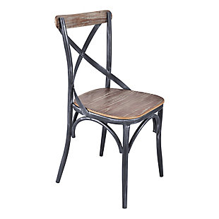Sloan Industrial Dining Chair in Industrial Gray and Pine Wood - Set of 2, , large