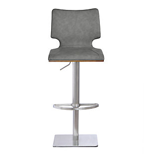 Armen Living Sydney Adjustable Barstool in Brushed Stainless Steel with Vintage Gray Faux Leather and Walnut Wood Back, , large