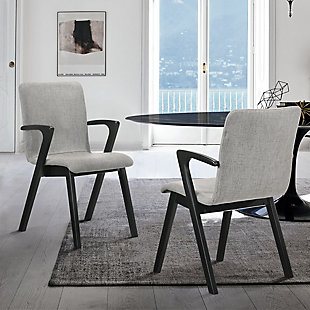 Varde Mid-Century Gray Upholstered Dining Chairs in Black Finish - Set of 2, , rollover