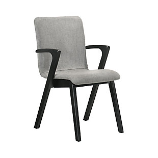 Varde Mid-Century Gray Upholstered Dining Chairs in Black Finish - Set of 2, , large