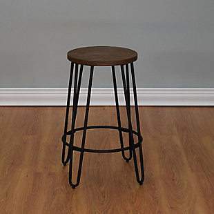 Quinn Counter Stool in Matte Black Finish, Brown/Black, rollover