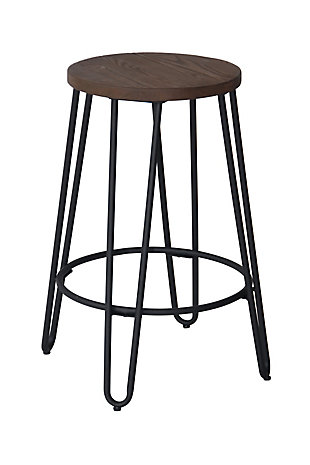 Quinn Counter Stool in Matte Black Finish, Brown/Black, large