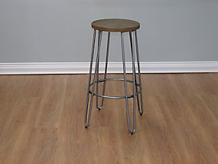 Quinn Barstool in Natural Metal Finish, Brown/Silver, rollover