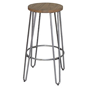 Quinn Barstool in Natural Metal Finish, Brown/Silver, large