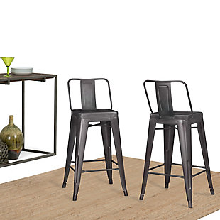 Rayne Industrial Metal 24 inch Counter Height Stool (Set of 2) in Gunmetal Gray, , rollover
